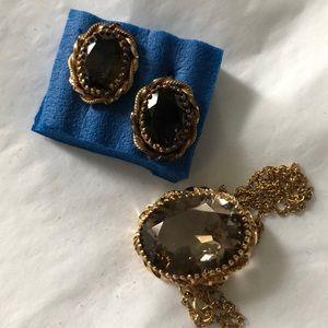 Jewelry - Smoky Topaz Necklace Earrings